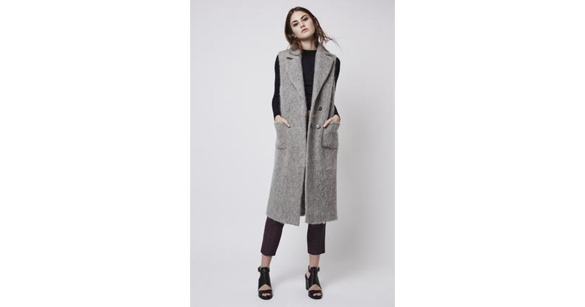 8005c1968fd9f Lyst - TOPSHOP Textured Wool Blend Sleeveless Coat in Gray