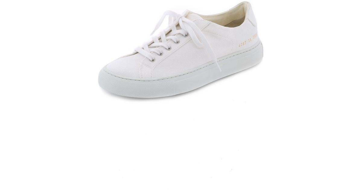 24633107044c Lyst - 6397 X Common Projects Lace Up Sneakers - Army black in White