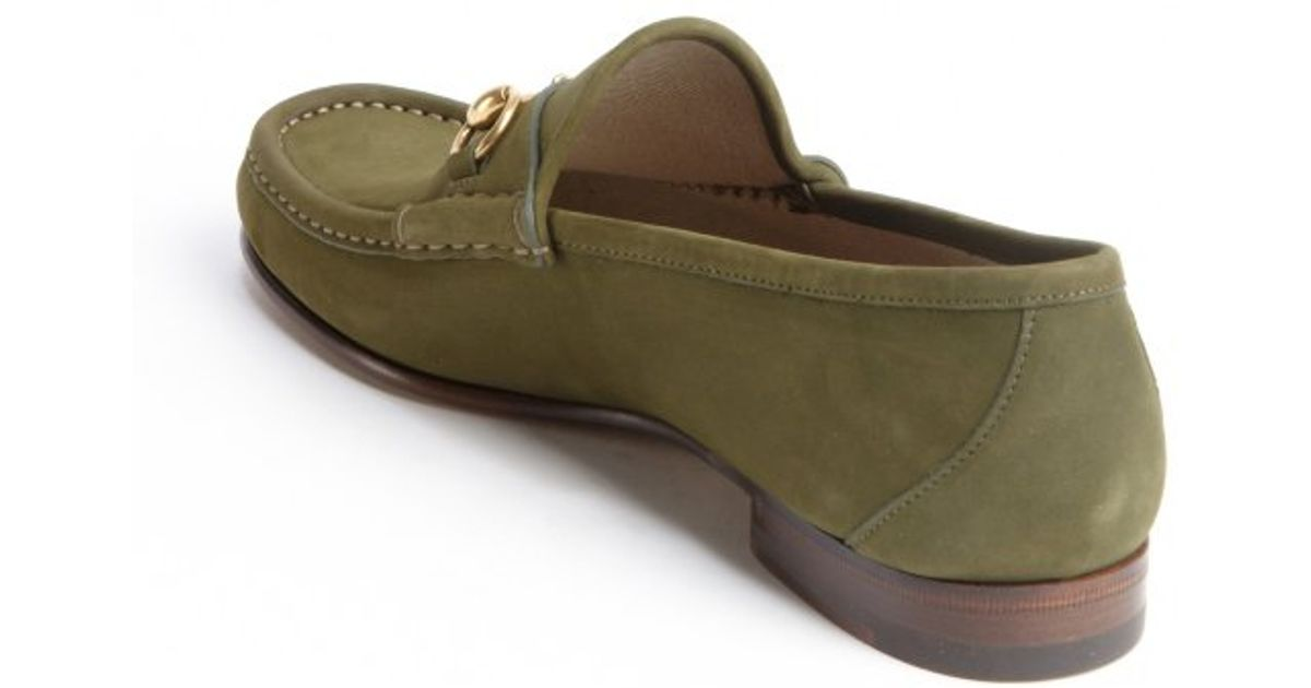 e7f4d657832 Gucci Green Suede Moc Toe Horsebit Slip On Loafers in Green for Men