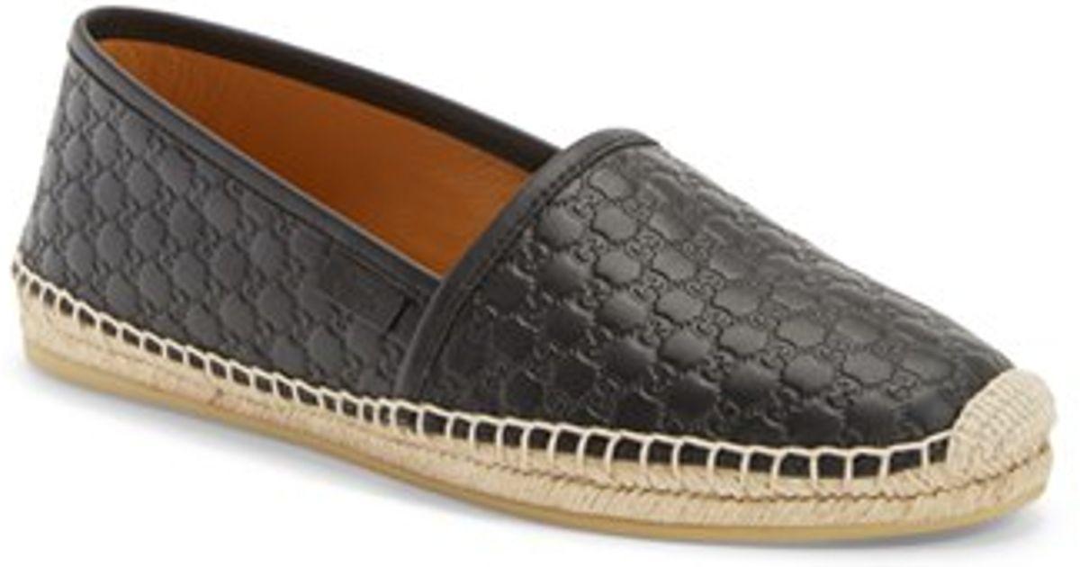 49d7b311671 Lyst - Gucci  Pilar  Espadrille Flat in Black
