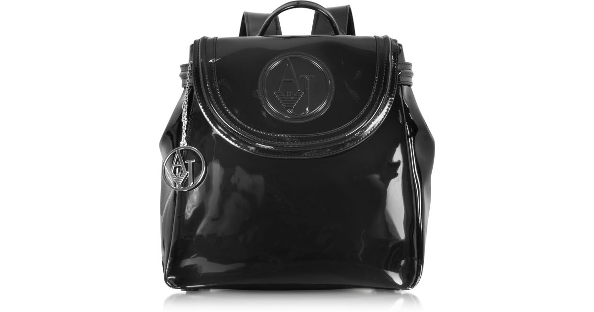 abadf86660ed Lyst - Armani Jeans Black Patent Eco Leather Backpack in Black