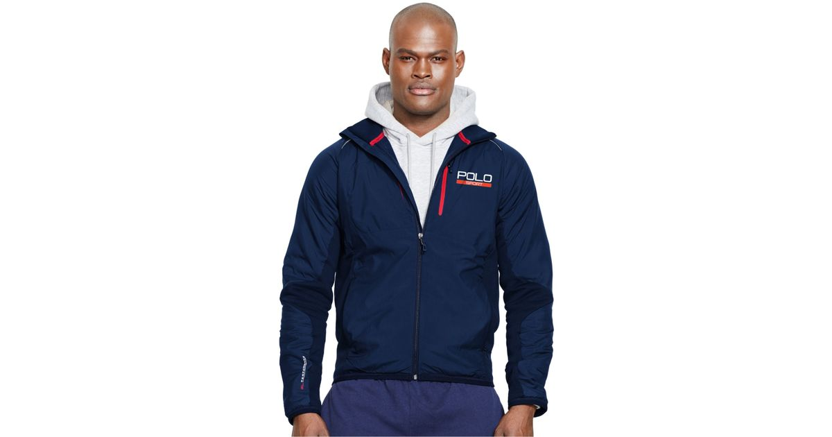 polo ralph lauren polo sport hybrid tech jacket in blue. Black Bedroom Furniture Sets. Home Design Ideas