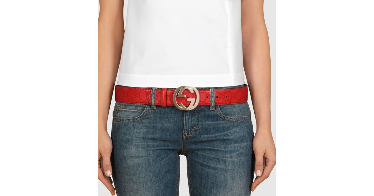 578bdabc5 Gucci Ssima Leather Belt With Interlocking G Buckle in Red - Lyst