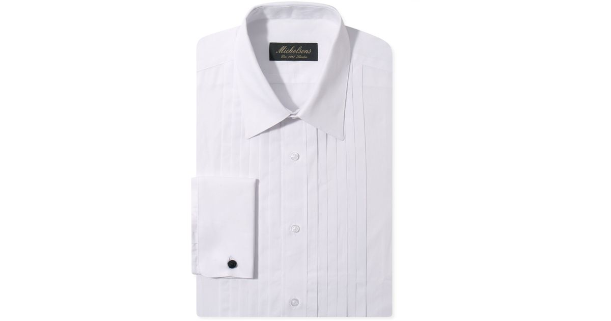 Michelsons of london slim fit pleated point french cuff White french cuff shirt slim fit