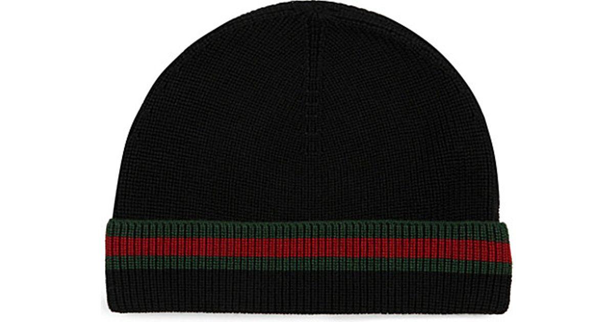 Lyst - Gucci Wool Silk Beanie in Black for Men 1b1bdead4c6