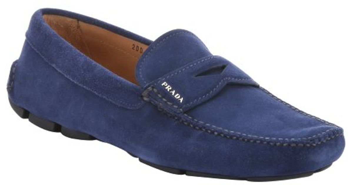 Prada Bright Blue Suede Penny Loafers in Blue for Men | Lyst