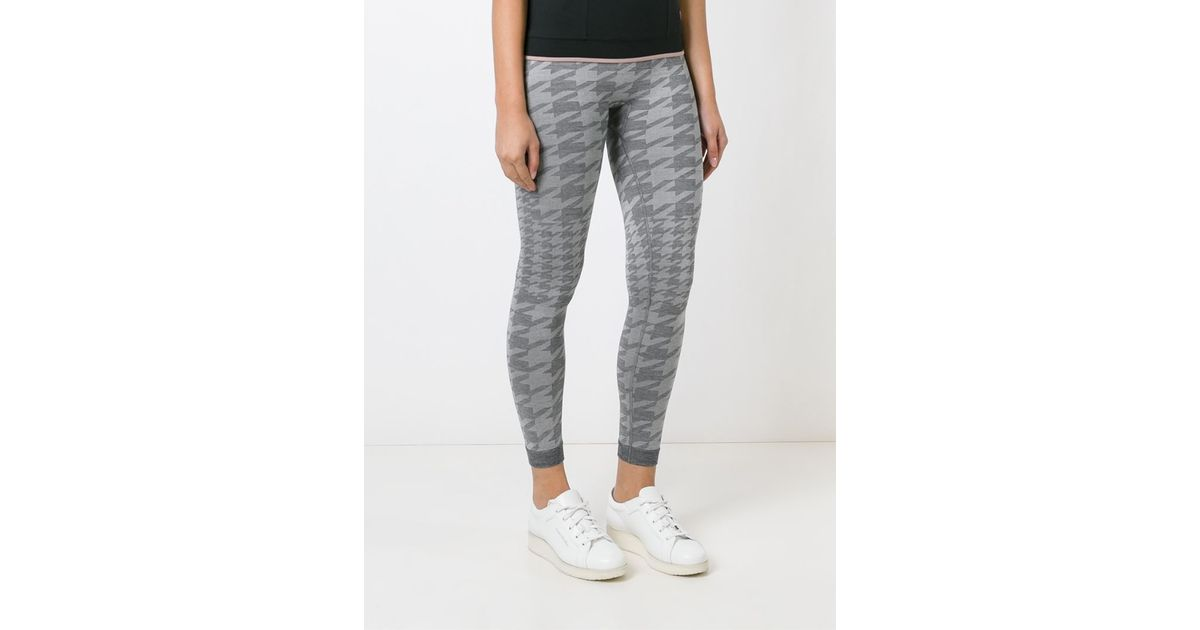Lyst - Adidas By Stella Mccartney Houndstooth Pattern Leggings in Gray