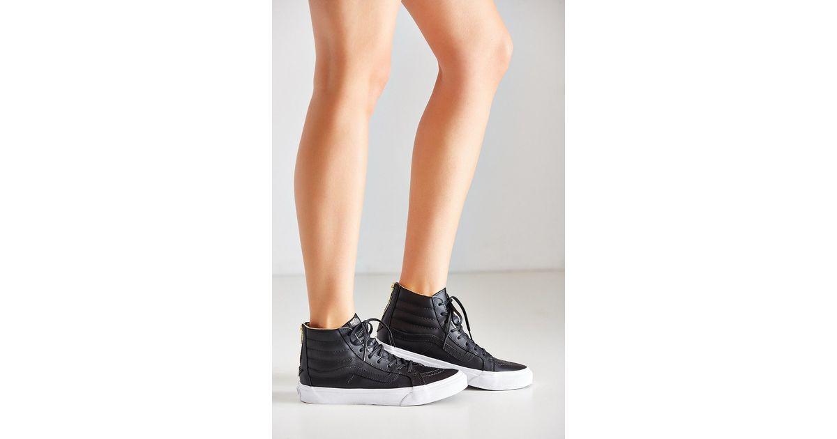 abba717b23 Lyst - Vans Leather Sk8-hi Slim Zip Sneaker in Black