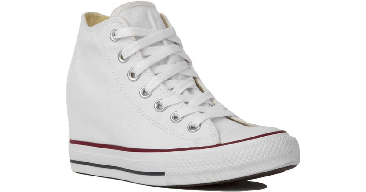 Lyst - Converse Chuck Taylor All Star Lux Mid Top Sneaker Wedges - White in  White a301a5b5d4