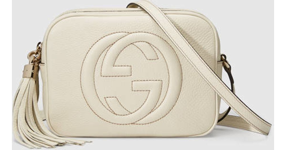 6ed84527c4 Gucci Soho Leather Disco Bag in White - Lyst