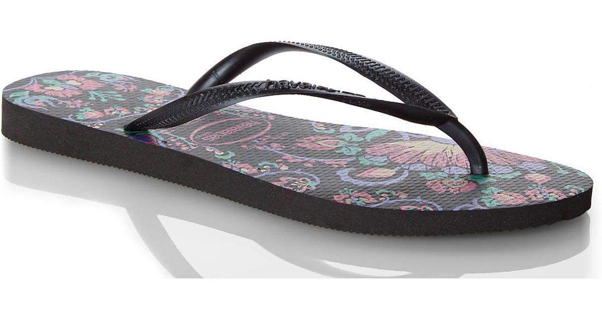 9efb9bb47 Lyst - Havaianas Black Slim Floral Flip Flops in Black
