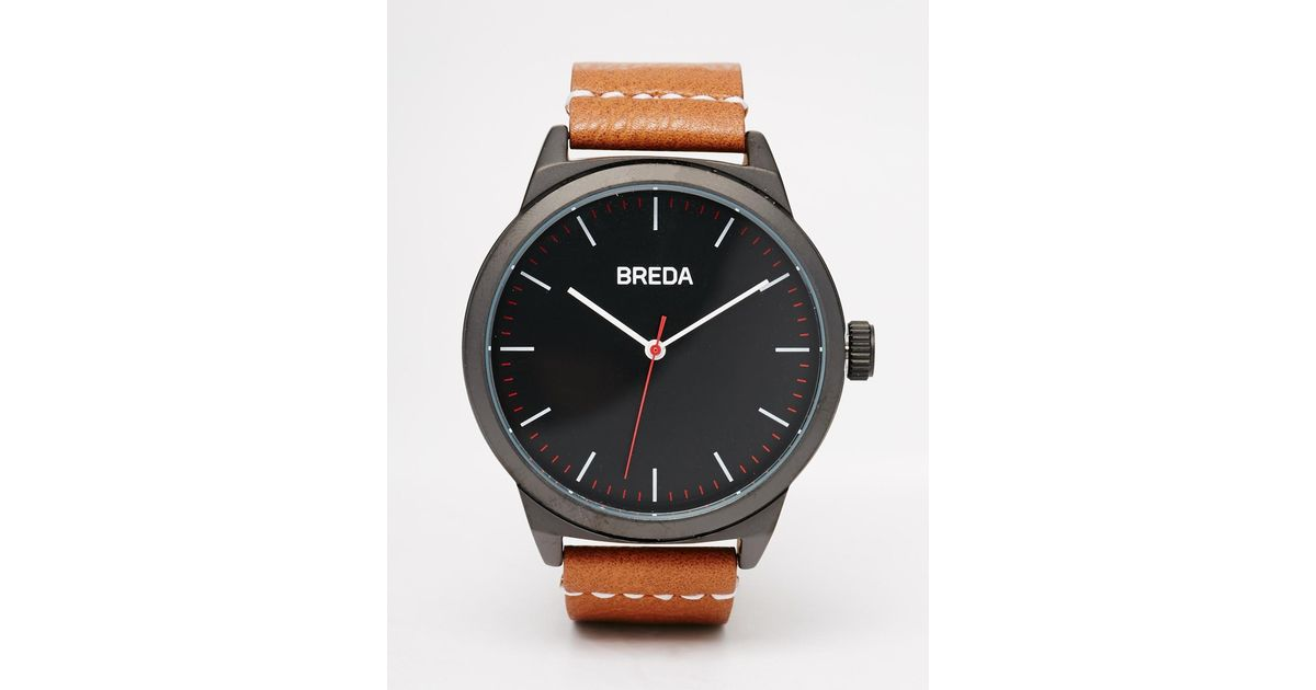 breda leather in brown 43mm in gray for