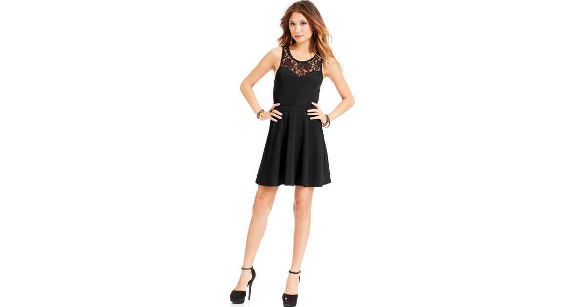 Lyst Material Girl Juniors Lace Illusion Dress In Black