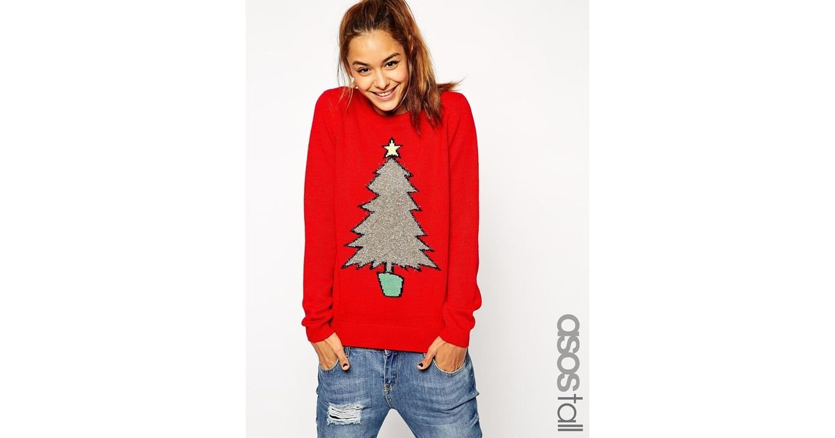 92f73bc36d8d8 ASOS Christmas Jumper With Tinsel Tree in Red - Lyst