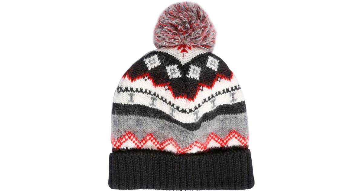 Lyst - Saint Laurent Pompom Wool Blend Jacquard Beanie Hat for Men 11349a5a22b