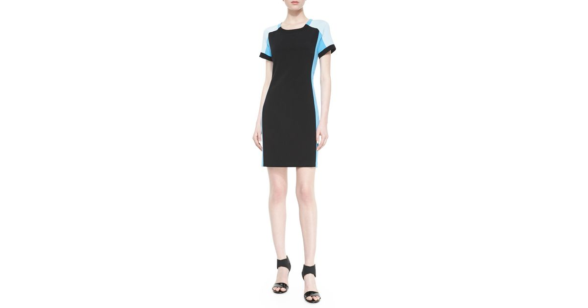 4fb0fca7 DKNY Short-Sleeve Colorblock Sheath Dress in Black - Lyst