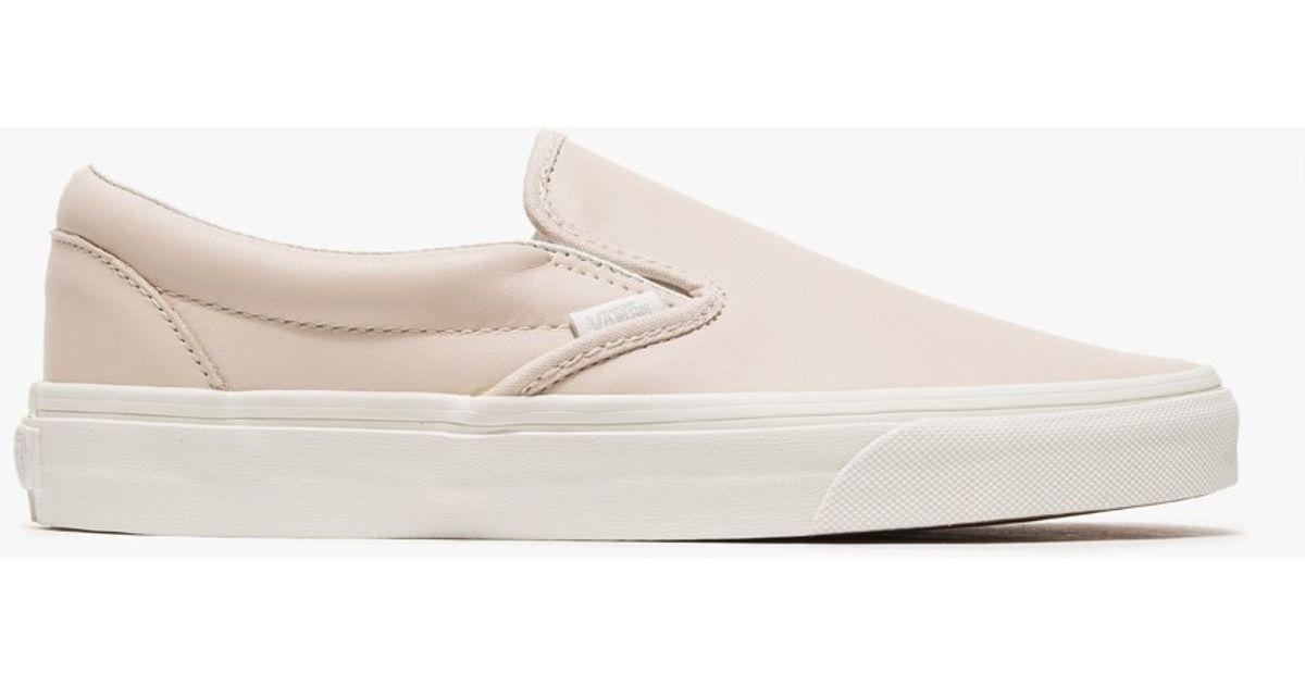 vans slip on leather beige