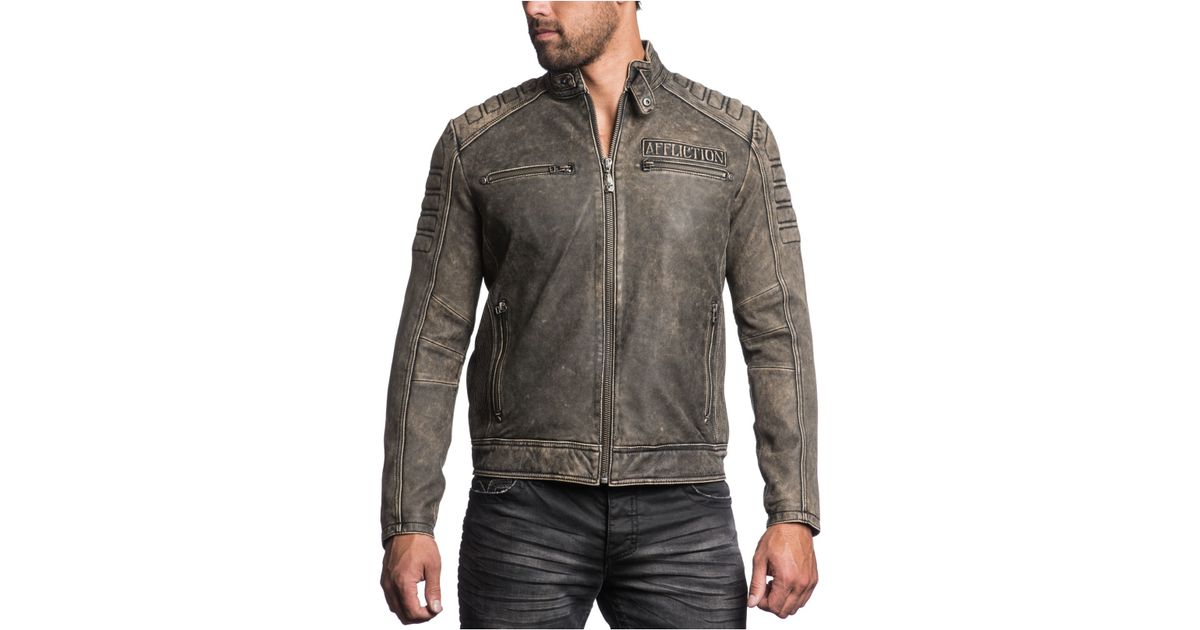 Affliction Iron Head Leather Jacket in Black for Men