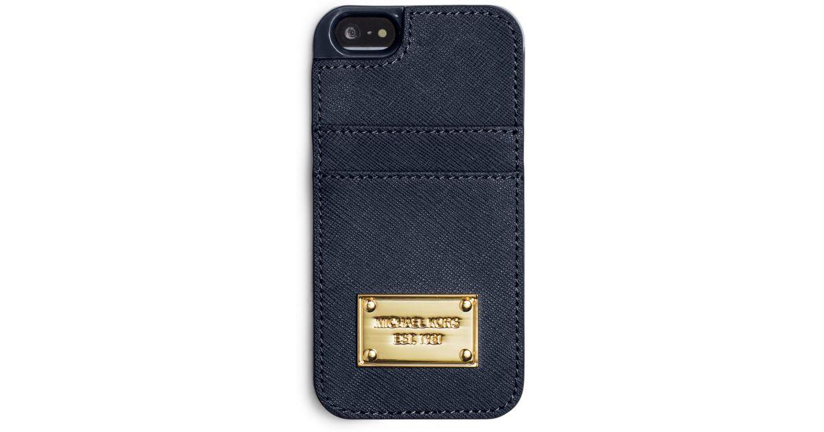 separation shoes 1dd65 23912 Michael Kors - Blue Saffiano Leather Pocket Smartphone Case for Men - Lyst