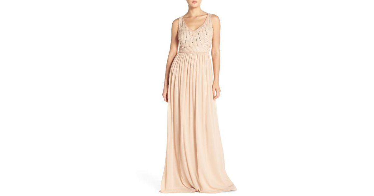d9c535350506 Adrianna Papell Beaded Bodice V-neck Chiffon Gown in Metallic - Lyst
