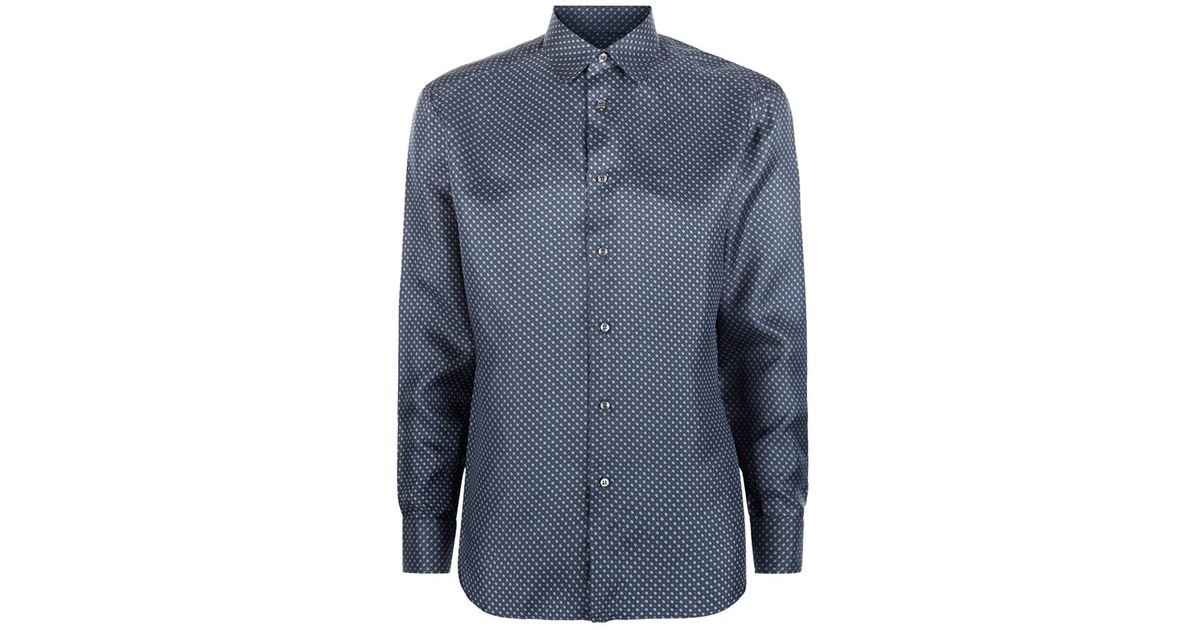 Brioni diamond weave silk shirt in blue for men lyst for Diamond and silk t shirts