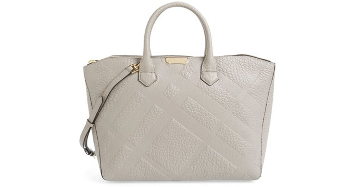 6c5933f913fa Lyst - Burberry  dewsbury  Check Embossed Leather Tote in Gray