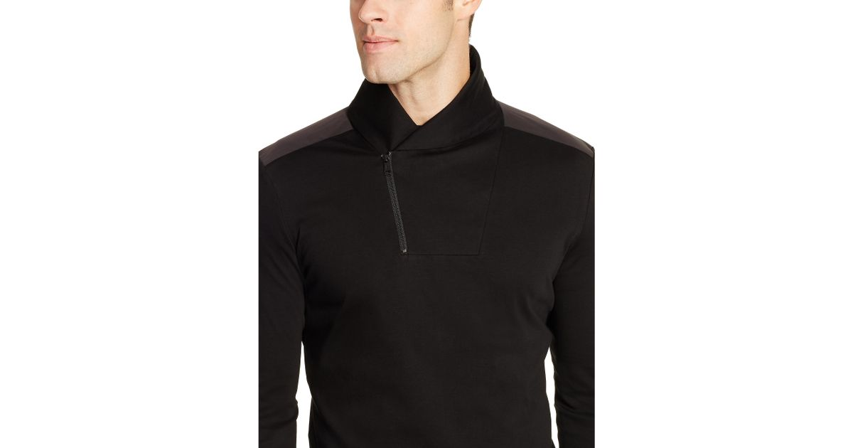 polo ralph lauren cotton shawl collar pullover in black for men lyst. Black Bedroom Furniture Sets. Home Design Ideas