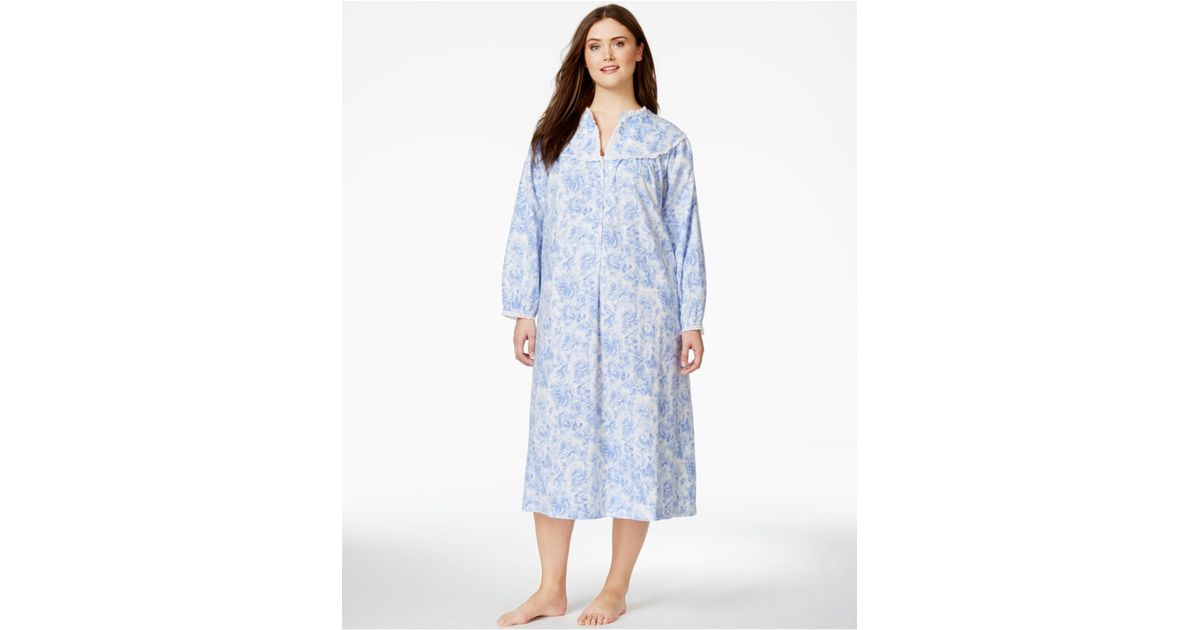 Lyst Lanz Of Salzburg Plus Size Long Flannel Nightgown In Blue