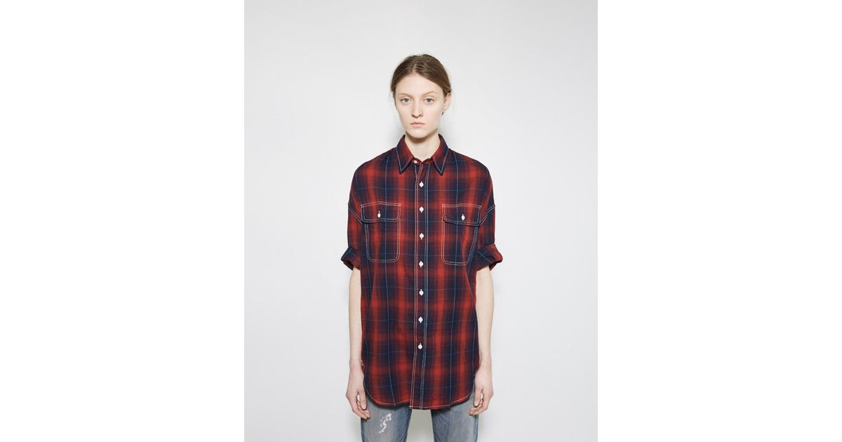 R13 Oversized Short Sleeve Shirt In Red Navy Red Plaid