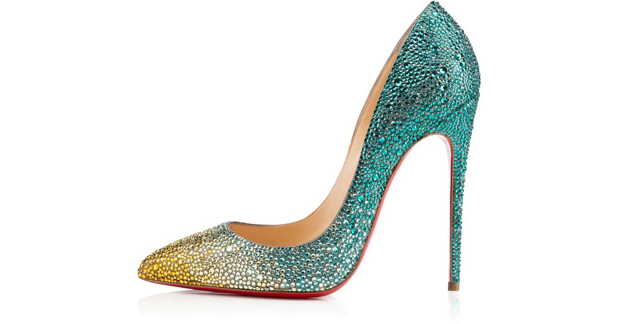 8a4015fcc16 Lyst - Christian Louboutin Pigalle Follies Strass in Green