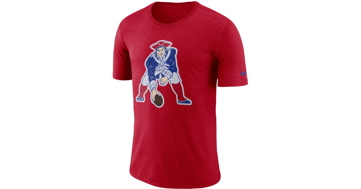 855b0782 Nike - Red New England Patriots Nfl Tri-blend Historic Crackle 3/4 T-shirt  for Men - Lyst