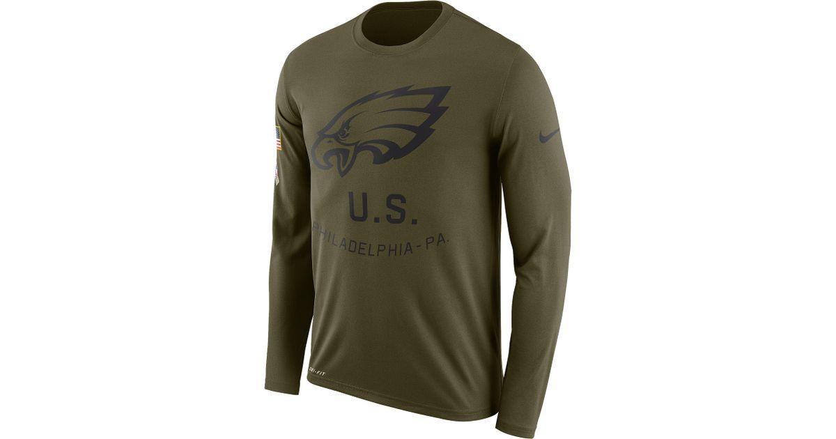 separation shoes cca68 b7bd7 Nike - Green Philadelphia Eagles Nfl Salute To Service Legend L/s T-shirt  for Men - Lyst