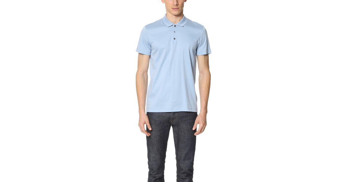 theory boyd tertiary polo in blue for lyst