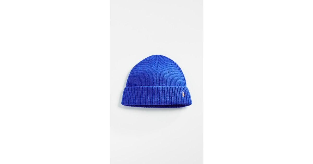 Lyst - Polo Ralph Lauren Signature Merino Cuff Hat in Blue for Men a01562b07ae