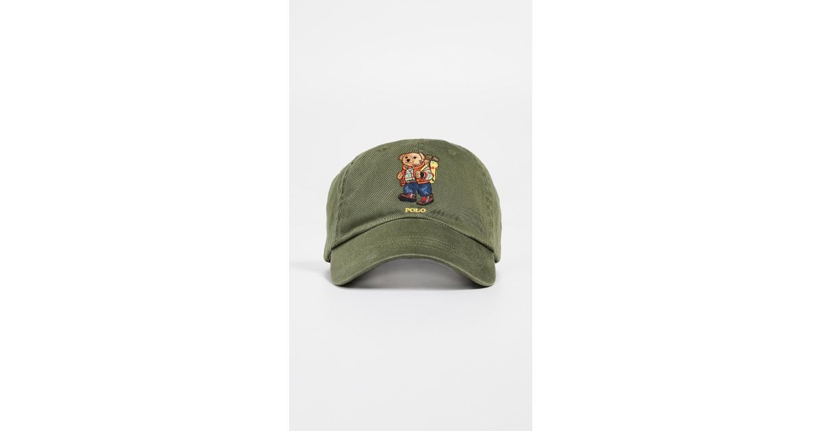 c8f436293cbc0 Polo Ralph Lauren Hiking Bear Cap in Green for Men - Save 21% - Lyst