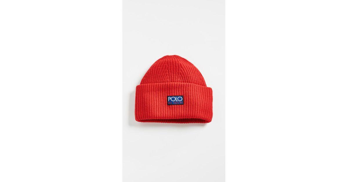Lyst - Polo Ralph Lauren Hi Tech Beanie in Red for Men f0df5eb4b33