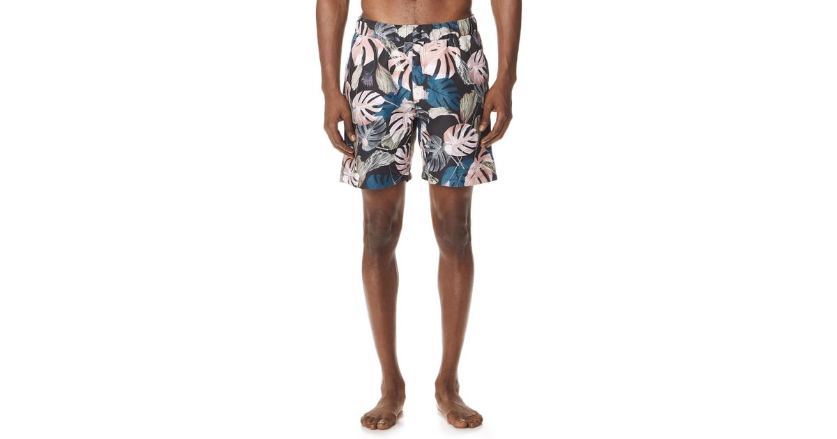 690dc027eeda6 Saturdays Nyc Trent Monstera Swim Shorts for Men - Lyst