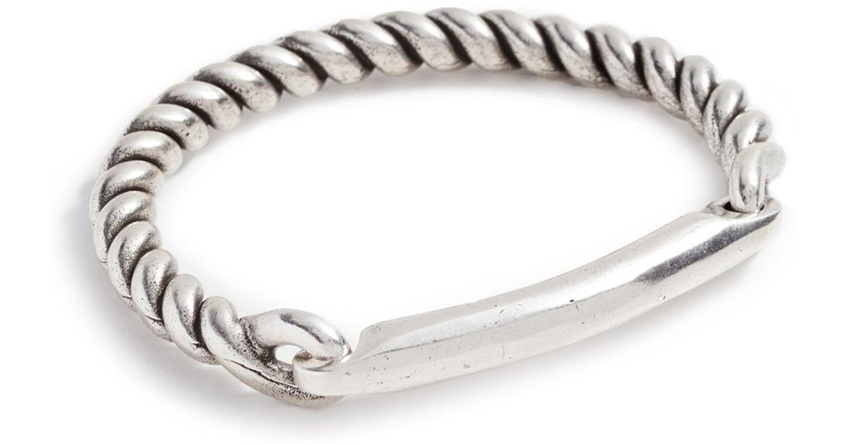 Giles & Brother Rope Hinge Cuff With Bar - Silver Oxide oSj2rQkjbb