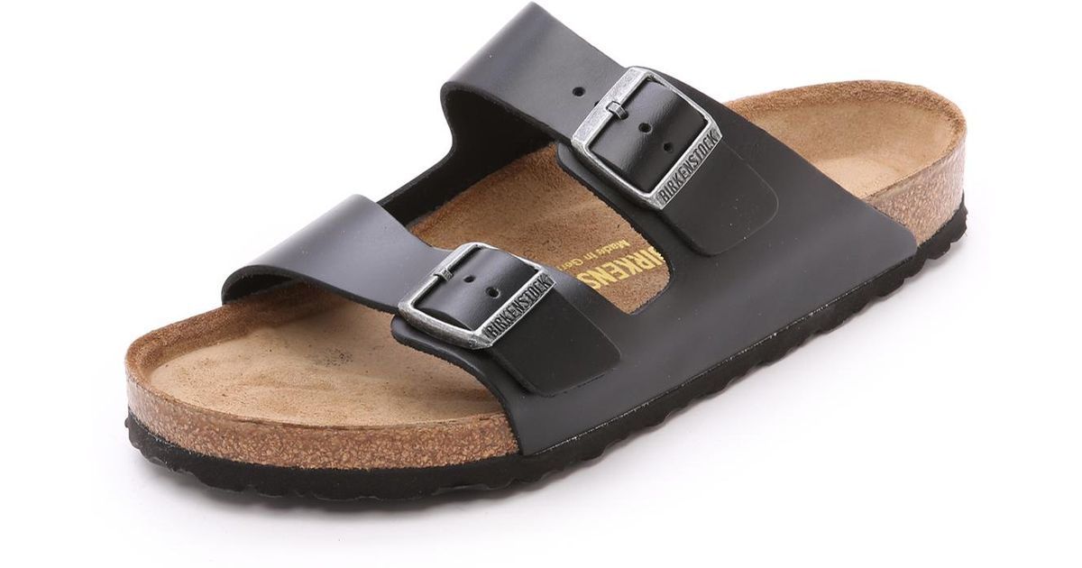 3cd0cdd68b1e Lyst - Birkenstock Amalfi Leather Soft Footbed Arizona Sandals in Black for  Men