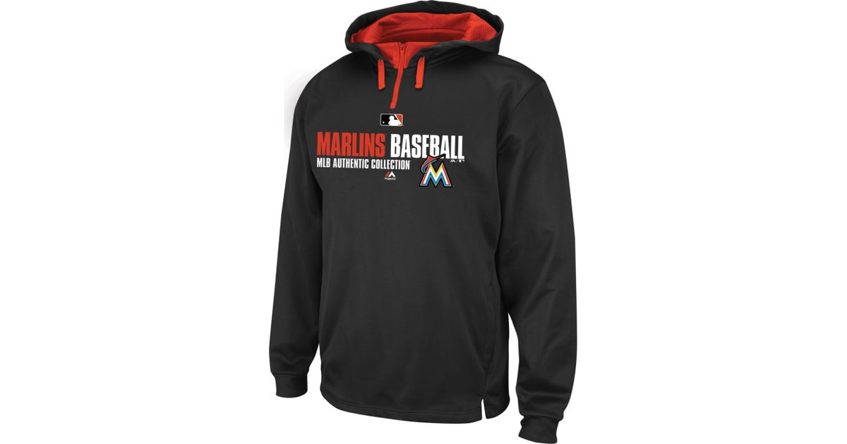 new product ed90f 7d6ba Majestic - Black Mens Miami Marlins Team Favorite Therma Base Performance  Hoodie for Men - Lyst