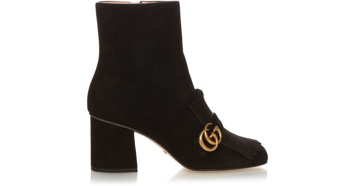 gucci marmont fringed suede boots in black lyst