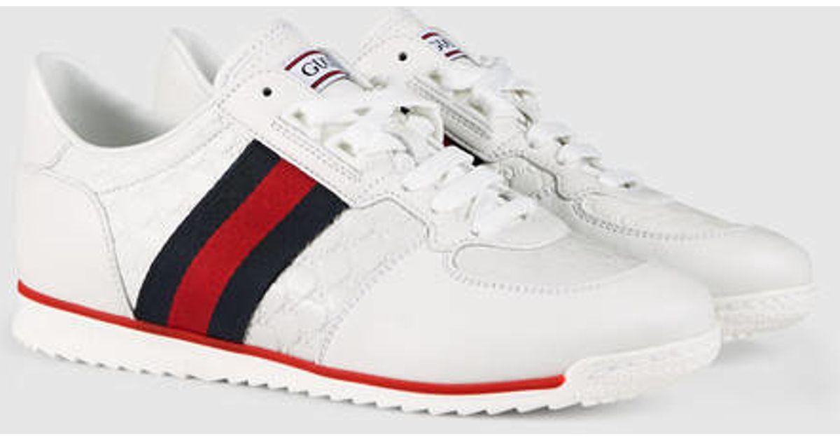 Gucci Sl73 Lace Up Sneaker In White White