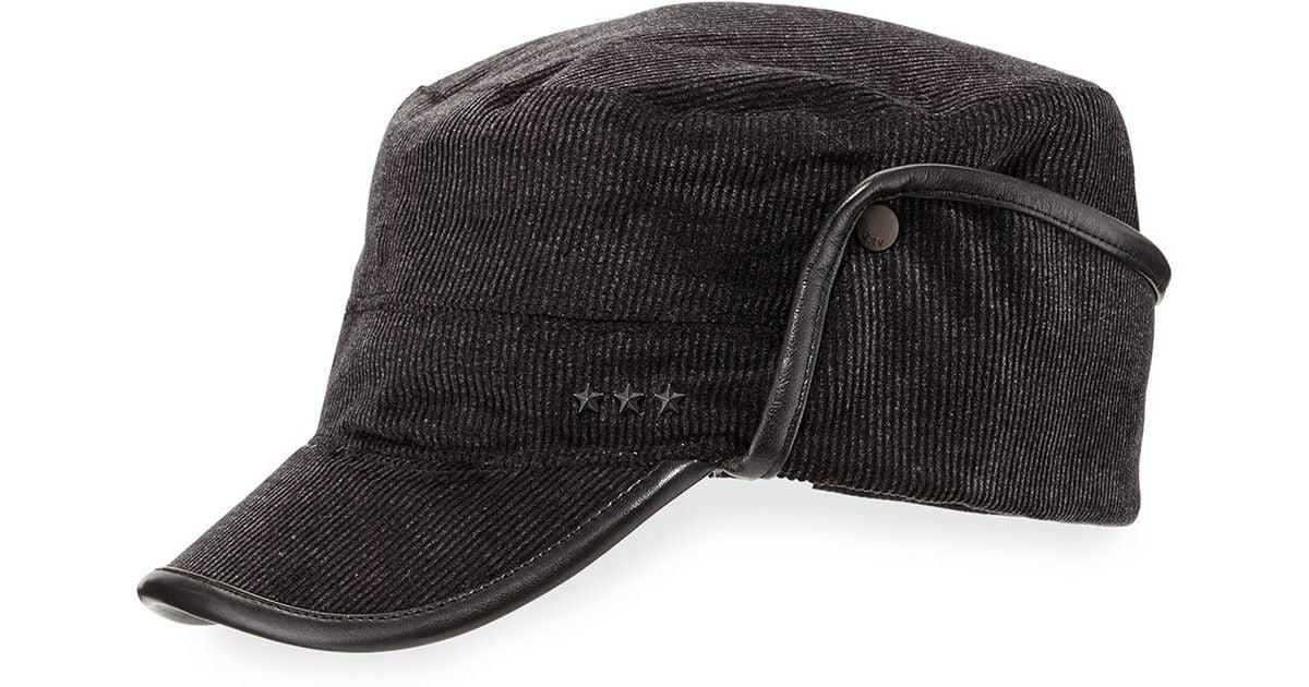 c7d684a9398 Lyst - John Varvatos Leather-trim Corduroy Military Cap in Black for Men