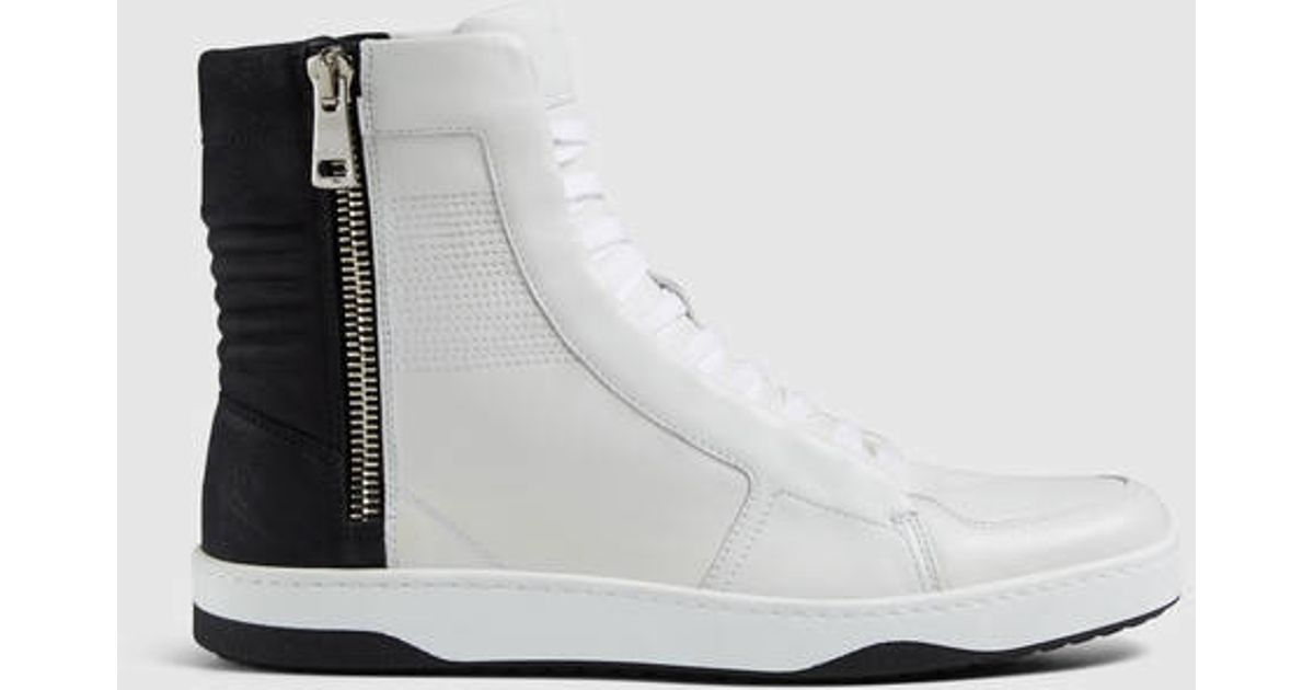 69c93345a8f8 Lyst - Gucci Leather High-top Sneaker With Zippers in White for Men