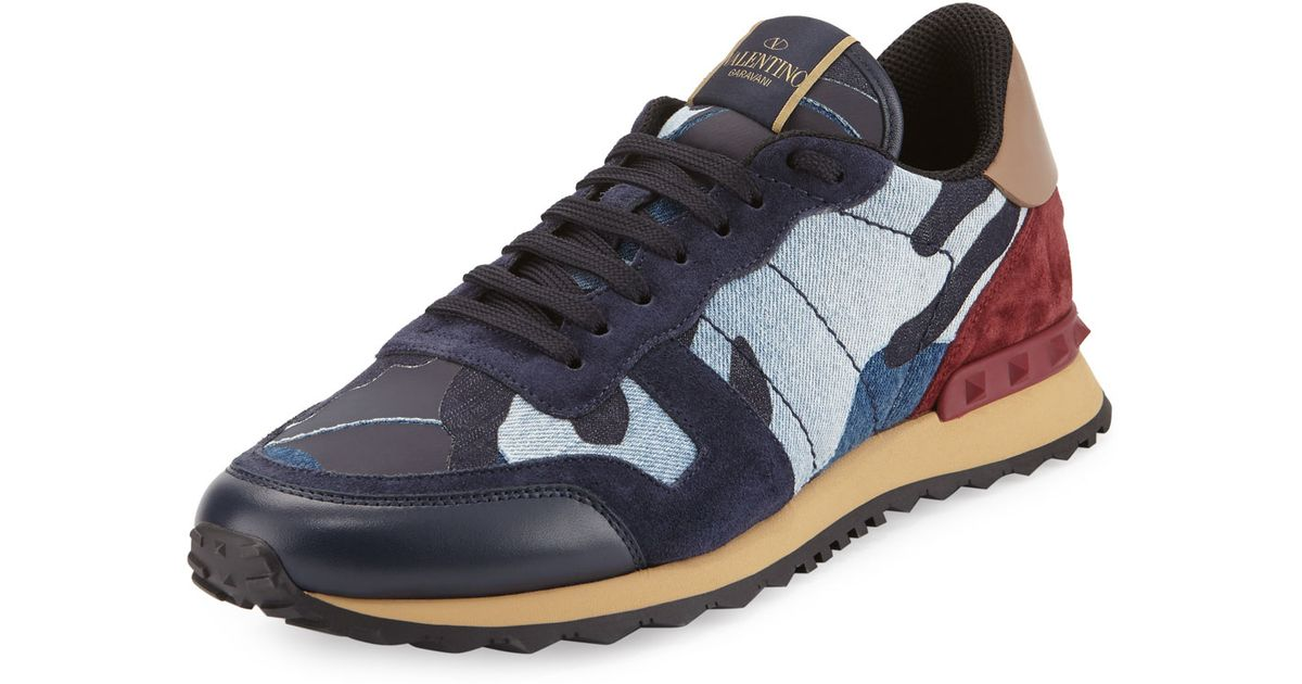 03c748b509f5 Lyst - Valentino Rockrunner Denim Camo-print Trainer Sneaker in Blue
