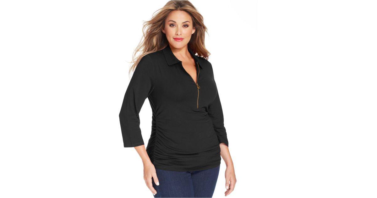 83b5b88e66bea Lyst - Michael Kors Michael Plus Size Threequartersleeve Halfzip Polo Shirt  in Black