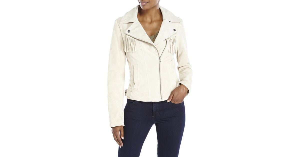 2603caa56ab Lyst - Jessica Simpson Suede Fringe Asymmetrical Jacket in Natural