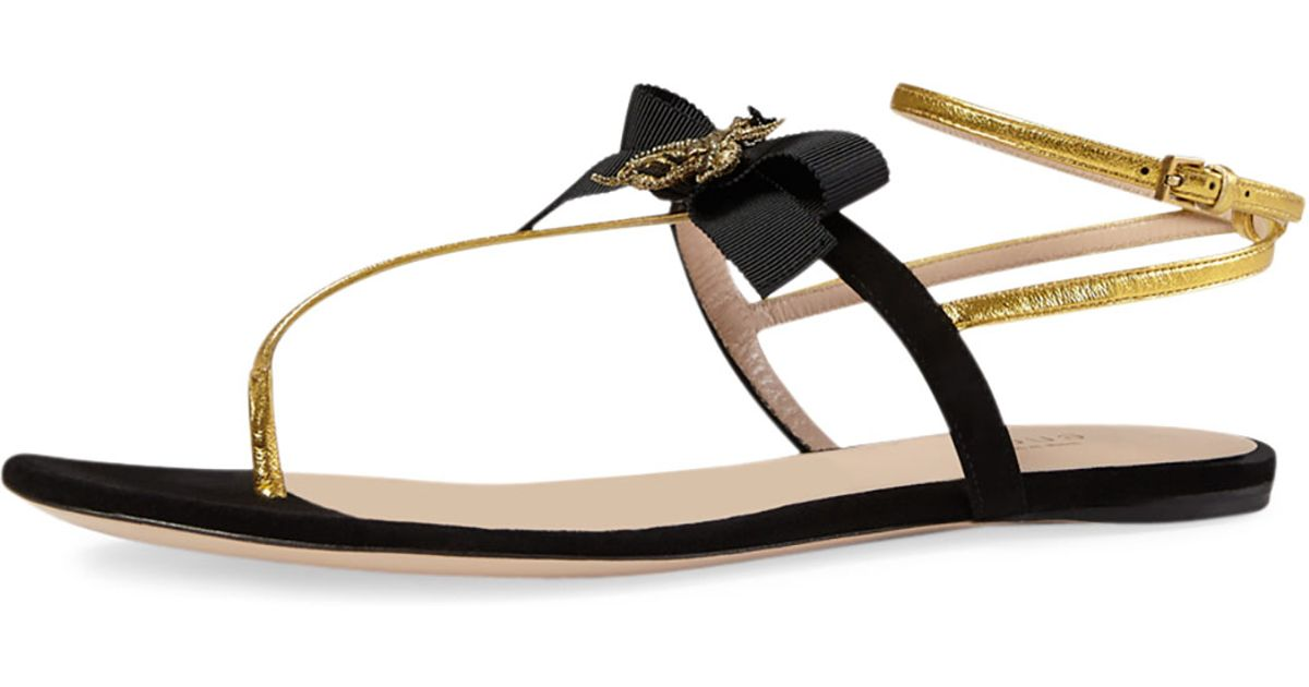 7e6a417e7f72be Gucci Moody Bow-Detail Flat Sandals in Black - Lyst