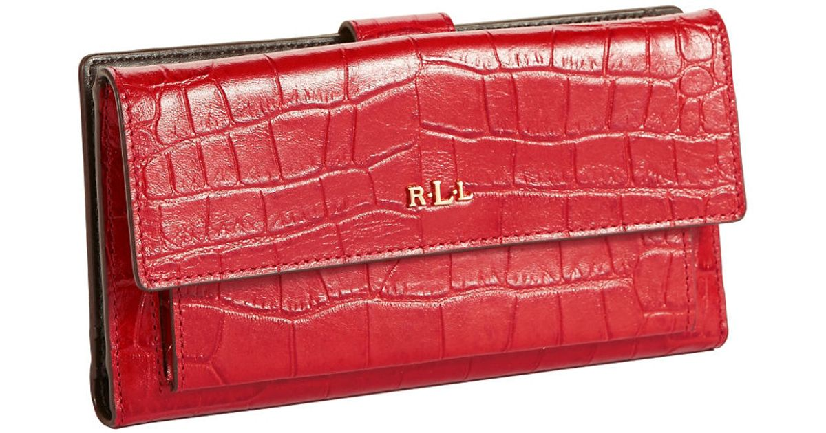 f9e5c0a011a Lyst - Lauren by Ralph Lauren Crocodile Textured Leather Wallet in Red