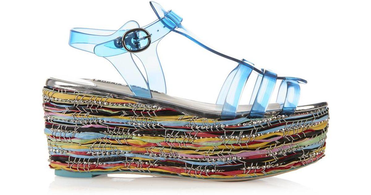 Sophia Webster Suki Jelly Platform Sandals In Blue Lyst